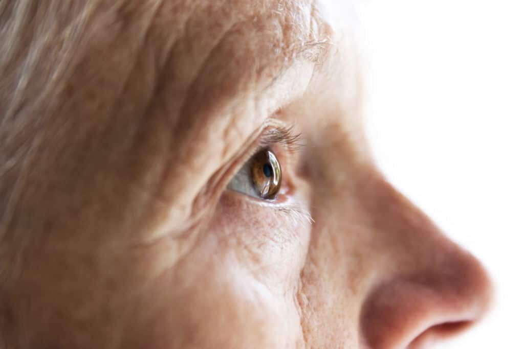 Closeup of older persons face profile