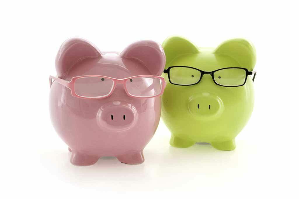 Piggy Banks wearing glasses