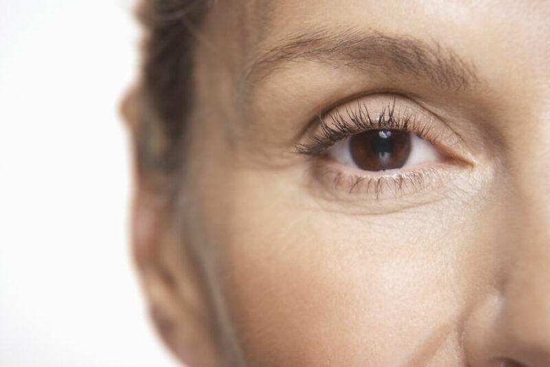 Middle-aged woman eye closeup